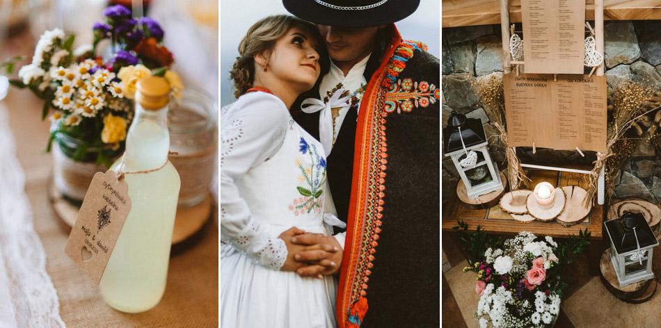 rustykalne wesele w górach, piękne dodatki weselne
